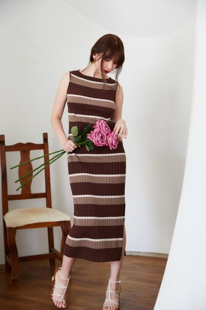 Cotton Striped Ribbed Knit Dress