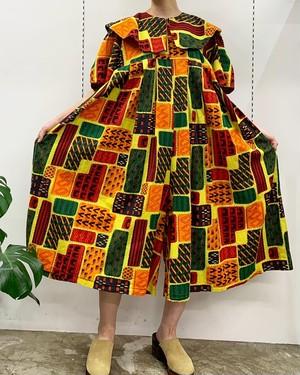 Sotiba DAKAR African batik short sleeve all-in-one【L位】