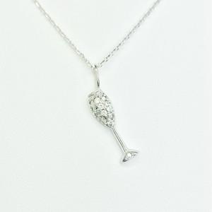 シャンパンネックレス K18WG×ダイヤモンド