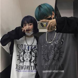 【トップス】「*ユニセック」流行り大人気カジュアルプリントラウンドネック切り替えTシャツ25601477