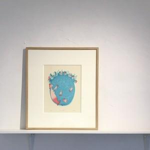 [版画アマビエ展]伊藤亜矢美「甘える遊ぶ」 Ito Ayami  木版