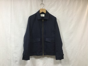 "niuhans""Irish linen zip-up jacket navy"""
