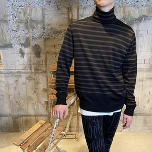 TAKAHIROMIYASHITA The SoloIst.【タカヒロミヤシタ ザ ソロイスト】turtlneck striped sweater(blackxchoolate).