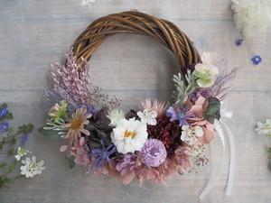 Lune Bonheur<Jardin de fleurs>*ハーフムーンリース*プリザーブドフラワー*お花*ギフト*結婚祝い*春リース*フラワーリース