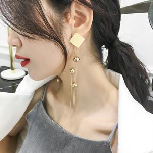 【[小物】タッセル菱形気質ファッション主役級デザインクセサリーピアス