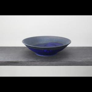美しいブルーの器 陶芸作家【中川智治 Potter Ash Field】Bowl 浅鉢 19cm(Blue×BLK×Gold)