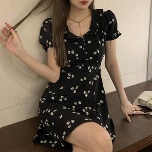 【ワンピース】ファッションプリントミニ丈着痩せワンピース43228680