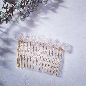 Vintage glass button Hair comb