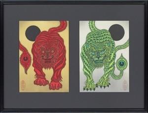 金子富之 版画作品「赤虎・青虎 ed./100」