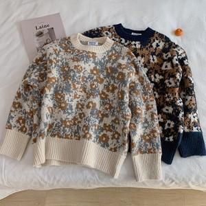 〈カフェシリーズ〉レトロフラワーカシミアセーター【retro flower Cashmere sweater】