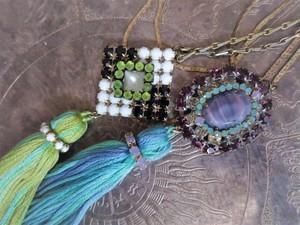 タッセル&ビジューネックレス vintage tassel necklace bijou  <NC- RBpl/whbk>