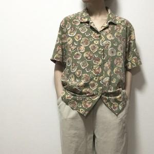【USED】開襟 ペールカラー 柄 シャツ オープンカラー ボックス 半袖