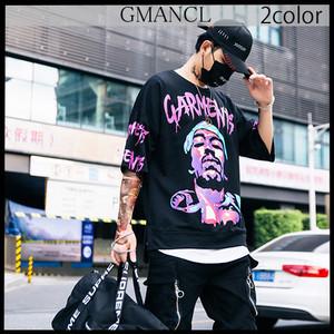 【GMANCL】2color フェイスアートプリントスウェット半袖Tシャツ