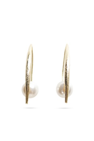 Swarovski Pearl V Hook Earrings | GOLD