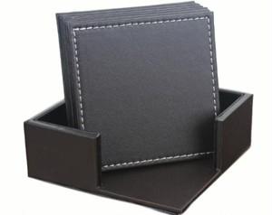 選べる 正方形 コースター 6枚セット(収納BOX付き)(茶色) レザー 革 インテリア お店 レストラン