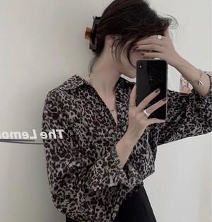sheer leopard shirt 2color