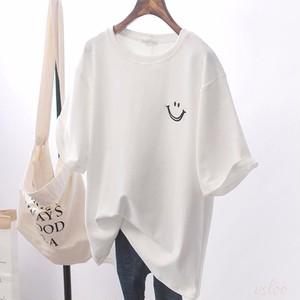 【トップス】シンプル ラウンドネック 好感度UP 半袖 配色 Tシャツ43657613