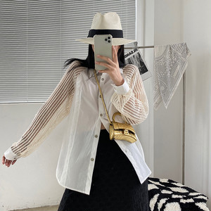 異素材メッシュ編み切替長袖シャツ LUM9008
