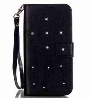 iPhone 6/6s ブラック ボヘミアン ドリームキャッチャー ダイヤモンド手帳型ケース hwab154