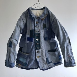 """1930-1940  Vintage French Cotton Serge Hard Darned and Patched Old """"Blue de Travail"""" Work Jacket"""