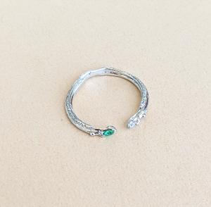 Emerald, White Sapphire Ring