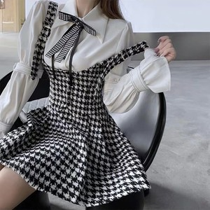 houndstooth ribbon blouse