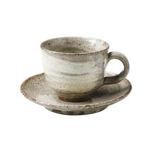 信楽焼 へちもん コーヒーカップ&ソーサー 約180ml 灰刷毛 MR-3-3263
