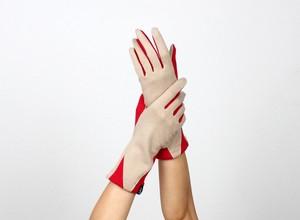 % PERCENT ジャージー 手袋(ベージュ・レッド)女性用・ウール100%・スマホ対応・縫製手袋