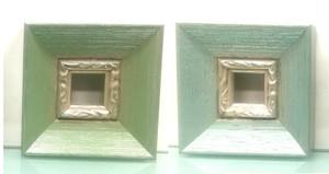 額縁おしゃれアンティークフレーム 窓枠寸法15mm×15mm 【B-60045緑/銀】 【B-60047青/銀】2mmアクリル/裏板付/壁掛け用】箱なし