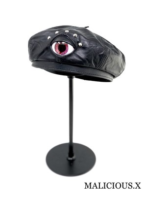 eye panel real leather beret / red marble
