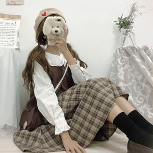 【セットアップ】キュート兔耳ラウンドカラーシャツ+レトロベスト+チェック柄Aラインスカート三点セット