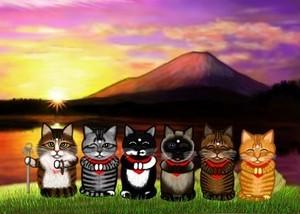 初日の出と猫六地蔵のポストカード