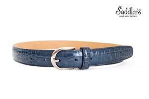 サドラーズ|Saddler's|クロコダイル型押しレザーベルト|SG08|ブルー|80