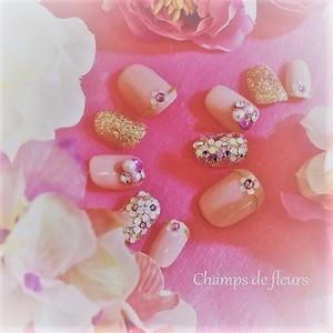 《ネイルチップ》お花模様とパールが着物に似合う!愛されピンクネイル♡