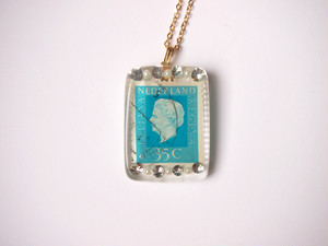 stamp necklace [blue]