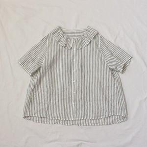 シンプルストライプ*フリル襟シャツ