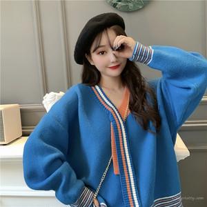 【トップス】シンプル切り替え配色ニットセーター