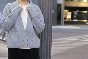 【Phlannèl】Wool Yak Cable Knit Short Cardigan(Women's)