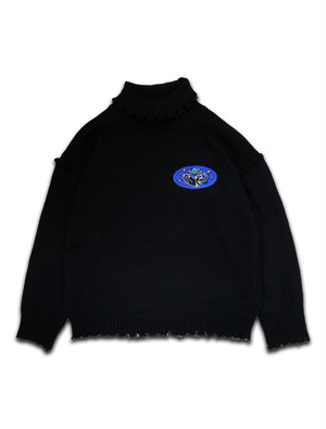 SPACE CAT PATCH HIGH NECK SWEATER black