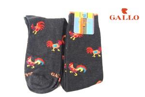 ガッロ|GALLO|ロングホース ソックス|GAM799173|にわとり柄|グレイ