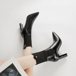 ソックスブーツ レディース ブーティー 春と秋 人格 ワイルド セクシー ハイヒール ファッション ヨーロッパとアメリカ スキニー ブーツ チェルシーブーツ