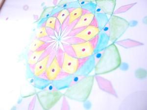 """◯ 虹の曼荼羅 〜命の鼓動  """" 聖なる子供 """" { 水彩画 ART }"""