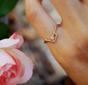 K10 かに座 ダイヤモンド ピンキーリング 星座
