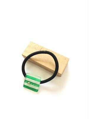 四角いヘアゴム ボーダー 緑×白