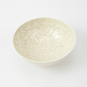 原田譲 -仿定窯白瓷印花蓮紋碗-