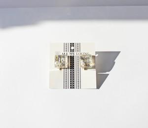 博多織樹脂イヤリング (RY-12) ホワイト シルバー ゴールド 銀 金 白 四角 和装 着物 博多献上