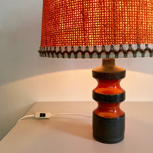 Vintage Pottery Table Lamp / ORANGE 60's オランダ