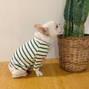 【販売予告10/11(金)20:00-】Bull. ベーシック ボーダー Tシャツ 緑×生成り