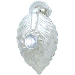 (3月)アクアマリン ホワイト ネイディブ ハート フェザー  シルバー ピアス 誕生石*BE-1036