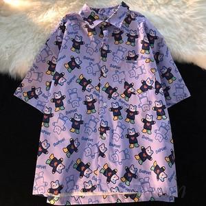 【トップス】韓国系半袖シングルブレストPOLOネックシャツ49102974